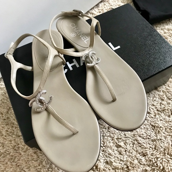 f7af29dd7b8d CHANEL Shoes - Chanel Crystal CC Thong Sandals